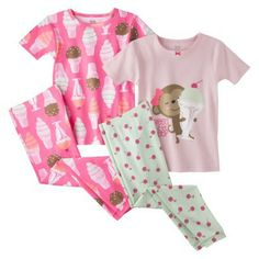 Just One You™ by Carter's® Infant Toddler Girls' 4-Piece Short-Sleeve Ice Cream Pajama Set