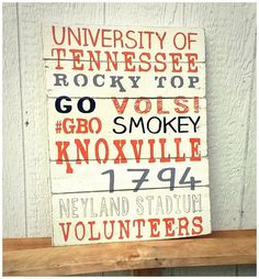 Hey, I found this really awesome Etsy listing at https://www.etsy.com/listing/234607912/rustic-ut-vols-subway-art-on-pallet-wood