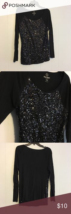 Black Sequined Top Fun and sparkly black top! Great for girls night out or New Year's Eve! Length is 28 inches and armpit to armpit is 19! Old Navy Tops Blouses