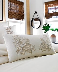 "Tommy Bahama - Embroidered Botanical 11"" x 22"" Pillow"