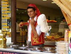 Traditional Kahramanmaras Ice Cream seller, the ice cream you can cut with a knife