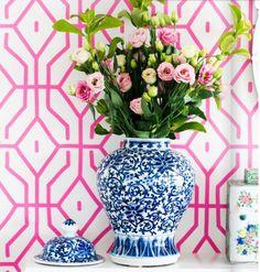 ginger jar & roses, Anna Spiro wallpaper