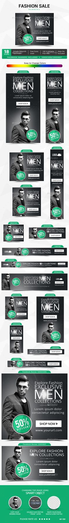 Fashion Sale Web Banners Template PSD #design #ads Download: http://graphicriver.net/item/fashion-sale-banners/13758357?ref=ksioks