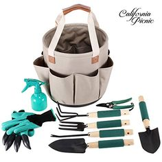 #Garden #Tools #Set #Garden #Tote | #9 #Piece #Garden #Tool #Set | #Digging #Claw #Gardening #Gloves #Gardening #Gifts #Tool #Set | #Garden #Trowel #Pruners | #Vegetable #Herb #Garden #Hand #Tools #Storage #Tote AMAZING #GARDEN #TOOL KIT Offers Heavy Duty #Tools and Accessories With a SOLID SUPPORT BASE super STABLE #Garden #Tote Bag. Hands down THE BEST #Garden #tool bag you can buy on Amazon. Made from 100% QUALITY MATERIALS; Beautiful khaki 600D Fabric, High Caliber Cast A