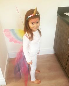 diy halloween costume fancy dress unicorn beautiful wings horn tulle tail