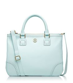 Tory Burch Robinson Spectator Double Zip Tote - such style! Tory Burch, Azul Tiffany, Tiffany Blue, Beautiful Bags, My Bags, Purses And Handbags, Leather Handbags, Messenger Bag, Cross Body