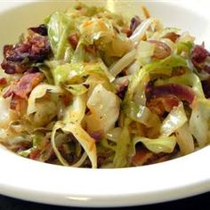 One of my favorite meals...Fried Cabbage with Bacon, Onion, and Garlic