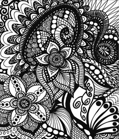 Drawing Doodle Coloring Books - Calming Doodles Illustrated By Virginia Falkinburg - Once you try ColorIt's doodle book for adults you will understand why it's rated stars. Hard covers, thick artist paper, and spiral binding make it amazing. Zentangle Drawings, Doodle Drawings, Doodle Art, Zentangles, Doodle Coloring, Mandala Coloring, Colouring, Coloring Sheets, Doodle Patterns