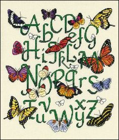 I did this Butterfly Alphabet cross-stitch a few years ago and was really pleased with how it turned out! via MaggieRae's
