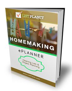 Check out ListPlanIt's brand new Homemaking ePlanner!  37 pages of lists, checklists, worksheets, schedules, inventories, and to dos in areas such as cleaning, home organizing, needs shopping, and more.  Download it now for just $5.00!