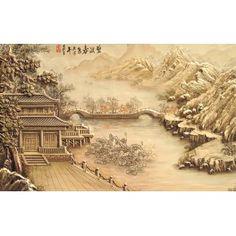 Papier peint asiatique en effet relief - Maison au bordde la rivière
