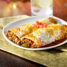 Spicy Black Bean Enchiladas Recipe  (Morningstar Farms)  These delicious cheese-topped enchiladas are filled with Spicy Black Bean Veggie Burgers.  https://www.morningstarfarms.com/recipes/spicy-black-bean-enchiladas-recipe