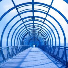 unusual blue concentric tunnel with shadows
