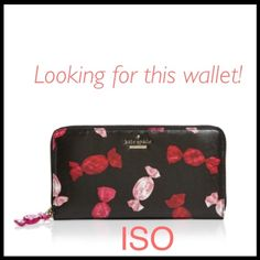 ISO Kate Spade Candy Sinclair Drive Lacey I am looking for this wallet, NOT SELLING IT!! Looking to trade trade or buy for less than full retail price! New or used in good condition  Kate spade candy print wallet with candy keychain. please help  kate spade Bags Wallets