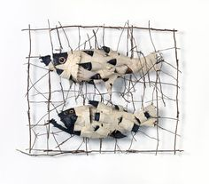 John Davis  Australia 1936–99  Evolution of a fish: Traveller  1990  twigs, cotton thread, calico, bituminous paint