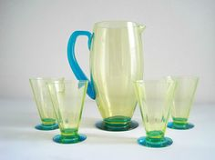 Art Deco Vaseline & Blue Glass Pitcher and by GoldenDaysAntiques