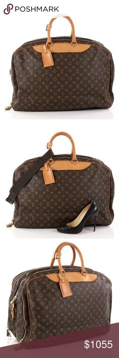 """Louis Vuitton Alize Bag Monogram Canvas 3 Poches Condition:Moderate creasing on exterior near base, heavy wear, darkening and scuffs along piping, trims and handles. Indentations on handles, cracking on rear handle bases, heavy stains on interior opening trims. Small marks and light wear in interior, scratches and discoloration on hardware.  Accessories: Luggage tag, poignet, detachable strap, locks and keys.  Measurements: Handle Drop 5"""", Height 15.5"""", Width 22"""", Depth 11"""", Strap Drop…"""