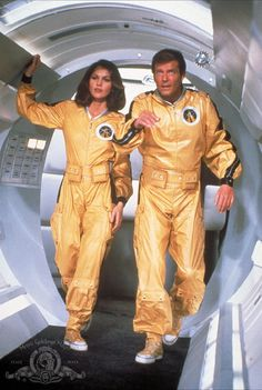 Still of Roger Moore and Lois Chiles in Moonraker