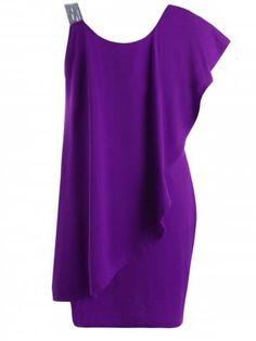 Plus Size One Shoulder Flounce Dress