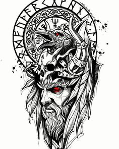Norse Mythology Tattoo, Norse Tattoo, Celtic Tattoos, Viking Tattoo Symbols, Rune Viking, Viking Art, Viking Tattoo Sleeve, Sleeve Tattoos, Tattoo Design Drawings