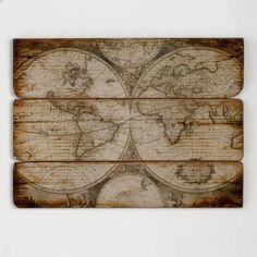 Wood Wall Map