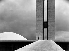 Elliott Erwitt - The National Congress Building by Oscar Niemeyer, Brasilia, 1961