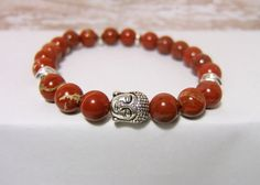 "Jasper Gemstone Bracelet ~ 8 mm Rainbow Jasper (brick red, creamy highlights), Silver Buddha & Spacer Beads ~ stretch cord, 7.5"" www.sgtpepperscreations.etsy.com #sgtpepperscreations #handmadejewelry #etsy"