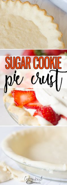 Sugar Cookie Pie Crust is a sweet chewy alternative to any pie crust The from-scratch sugar cookie dough comes together in just a few minutes with only a handful of ingredients This crust will take your favorite pie from good to AMAZING Cooking with Karli Köstliche Desserts, Delicious Desserts, Dessert Recipes, Yummy Food, Plated Desserts, Sugar Cookies From Scratch, Sugar Cookie Dough, Cookie Pie Crust Recipe, Pie Crust Cookies