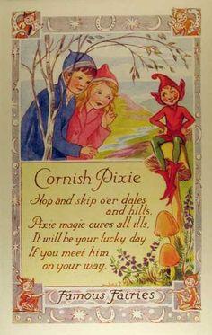 Fantasy Art Famous Fairies Cornish Pixie L R Steele Artist Signed Postcard Vintage Cards, Vintage Postcards, Fairy Land, Fairy Tales, Cornish Pixie, Famous Fairies, St Just, Vintage Fairies, All Nature