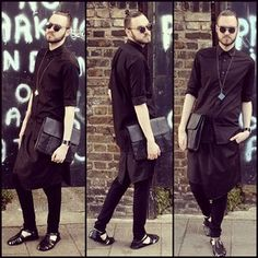 All black is a classic look that benefits from a skirt.   33 Men Who Rocked Skirts And Looked Super Hot Doing So
