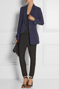Navy crepe Concealed snap fastenings through front 50% acetate, 50% viscose; lining: 65% acetate, 35% viscose Dry clean