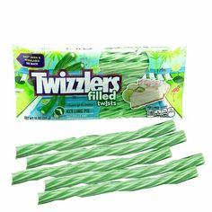 This is an bag filled with Twizzlers licorice in a key lime pie flavor. Sweet Recipes, Snack Recipes, Snacks, Pink Candy Buffet, Heath Food, Pie Flavors, Jolly Rancher, Guacamole Recipe, Key Lime Pie