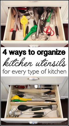 13 Storage Ideas That Will Instantly Declutter Your Kitchen Drawers how to organize kitchen utensils in 30 min or less, kitchen design, organizing Kitchen Utensil Storage, Kitchen Utensil Organization, Home Organization, Organizing Kitchen Drawers, Organized Kitchen, Inside Kitchen Cabinets, Utensil Organizer, House Is A Mess, Cuisines Diy
