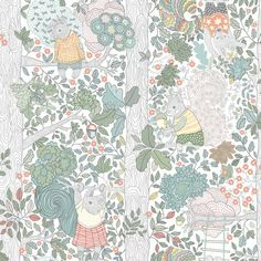 Kids Room Wallpaper, White Wallpaper, Wallpaper Samples, Pattern Wallpaper, Kindergarten Wallpaper, Scandi Living, Wallpaper Collection, Scandinavian Wallpaper, Stig Lindberg
