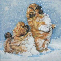 Pekingese art print CANVAS print of LA Shepard painting 8x8 dog art