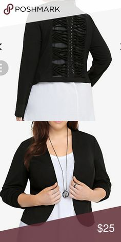 Torrid strappy back blazer Wow, so you've scored the 'it' blazer of the season. There's so much to love about this bold and beautiful black number. It has a trendy lace-up back. Faux welt pockets. And a contemporary, rounded open-cut design. Get ready to rock this modern look from the office to cocktail hour. Torrid size 1 torrid Jackets & Coats Blazers