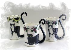 "pottery cat cartoon - love the cat tail as the handle idea, but would do a more ""rustic"" cat figure for the cup...??"