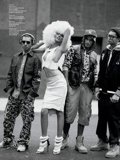 Anais Mali, Cora Emmanuel, Rob Evans, Travone Hill and Chrishell Stubbs for V Magazine Music Issue V Magazine, Rob Evans, Hip Hop Fashion, Dope Fashion, High Fashion, Fashion Music, Fashion Styles, Street Fashion, Black Urban Fashion