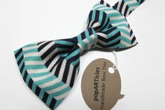 Navy and Teal Chevron Bow Tie, Handmade with 100% Cotton, Men's Pre-Tied Bow Tie - use promo code PIN10 for 10% off