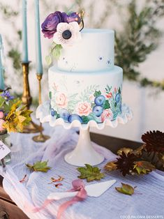 20 Floral Print Wedding Cakes | SouthBound Bride | http://www.southboundbride.com/floral-print-wedding-cakes | Credit: Kristen Kilpatrick/Bird Dog Wedding/Coco Paloma Desserts via The Cake Blog