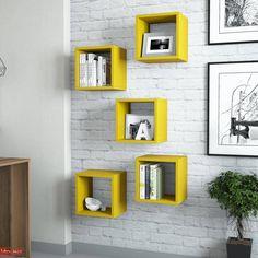 Raft de Perete Box - Galben White Beige, Cubbies, Adjustable Shelving, Wall Shelves, Timeless Design, Blue Yellow, Decorative Accessories, Floating Shelves, Living Spaces