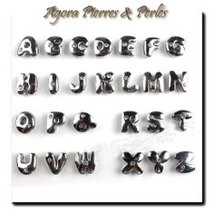 1 PERLE METAL - ARGENTE BRILLANT - LETTRE ALPHABET COMIC -  1 STRASS -10/12 mm
