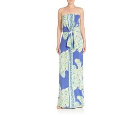 Lilly Pulitzer Rosalina Strapless Maxi Dress ($79) ❤ liked on Polyvore featuring dresses, apparel & accessories, maxi length dresses, lilly pulitzer dresses, white day dress, tie waist maxi dress and white dress