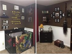 The biggest Harry Potter fans are becoming parents, and it's yielding the cutest results. Find out awesome Harry Potter themed baby room ideas! Baby Harry Potter, Baby Shower Harry Potter, Harry Potter Thema, Deco Harry Potter, Harry Potter Nursery, Theme Harry Potter, Nursery Twins, Nursery Themes, Nursery Room