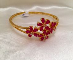 Ruby Bangle Bracelet Ruby Kada Indian Jewelry by Alankaar on Etsy