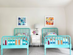 turquoise Jenny Lind beds | Amy Studebaker Design