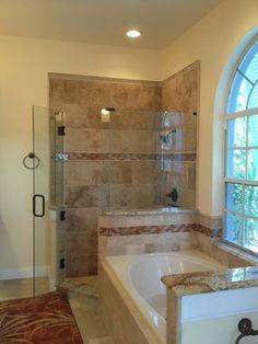 Repeat of accent tile on bathtub surround Bathtub Tile, Bath Tiles, Bathtub Surround, Bathroom Renos, Bath Design, Master Bath, Vanity, Tile Ideas, Nebraska