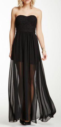 ♛ ℘opular ℘rincess • Aryn K strapless embroidered sheer-length maxi dress