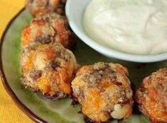 Cream Cheese Sausage Balls with Creamy Mustard Dipping Sauce Recipe