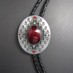 American Indian Southwest Western Cowboy Rodeo Bolo Tie 42mm W x 50mm H Red #BeltsNJewelry